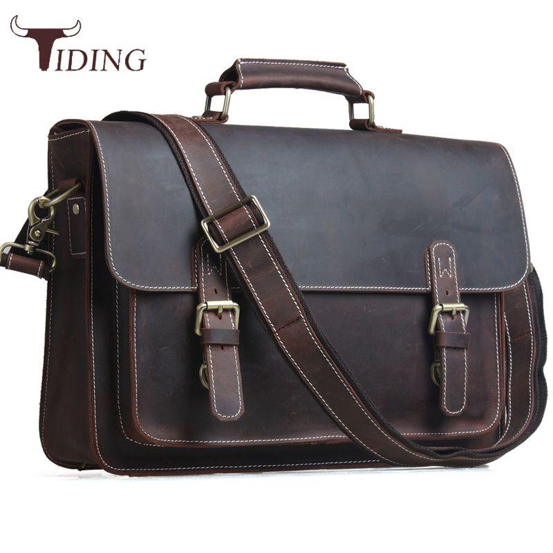 Maré Malas de Couro Genuíno dos homens 14 polegadas Laptop Bag Vintage Cross Body Bolsa de Ombro Messenger Bag Business Tote Brown