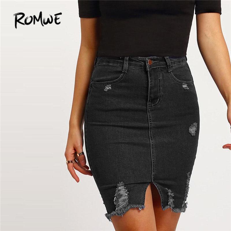 53a8b7d0867f 2019 Black Casual Ripped Split Denim Skirt 2018 Spring Mid Waist Straight  Short Denim Skirts Woman Plain Sexy Pencil Skirt From Maoyili, $24.77 |  DHgate.Com