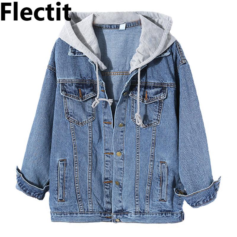 f9291a36575 Flectit Harajuku Street Styel Women Hooded Long Denim Jacket With Grey Drawstring  Hood Big Size Hoodie Jean Jacket Female Coat Parka Jackets Biker Jackets …