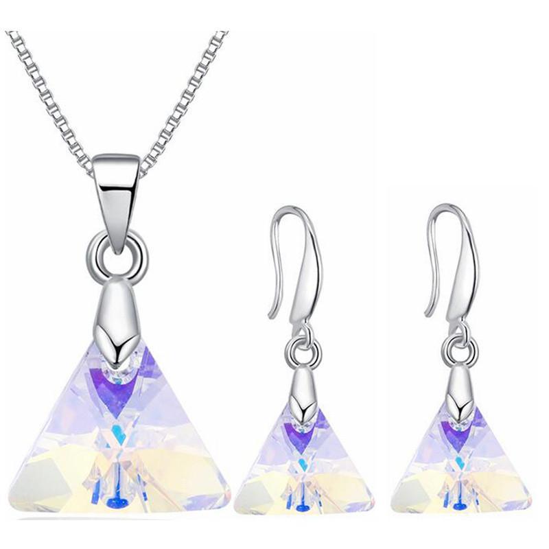 Cristal de Swarovski Elements Necklace Aretes para mujeres Conjunto de joyas de boda de moda Accesorios de regalo Oro blanco plateado 27396