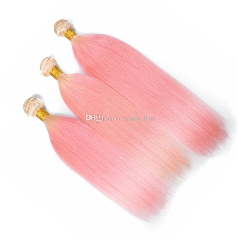 Fashion Blonde Roots Pink Ombre Hair Bundles 613 and Pink Ombre Malaysian Straight Human Hair Weaves Extensions for White Women