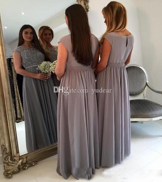 2019 nova moda bateau vestidos de dama de honra top lace beadings vestidos de festa para festa tampou mangas sheer neck partido do baile de finalistas vestidos de honra