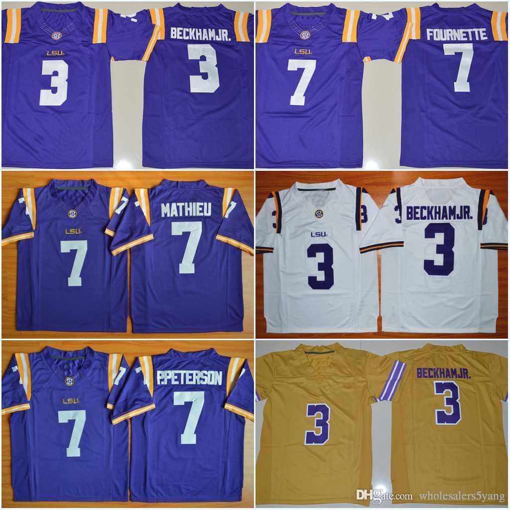 best loved b0c71 2e6fd #3 Odell Beckham Jr. #7 Leonard Fournette Patrick Peterson Tyrann Mathieu 5  Derrius Guice Purple White Gold LSU College Stitched Jerseys