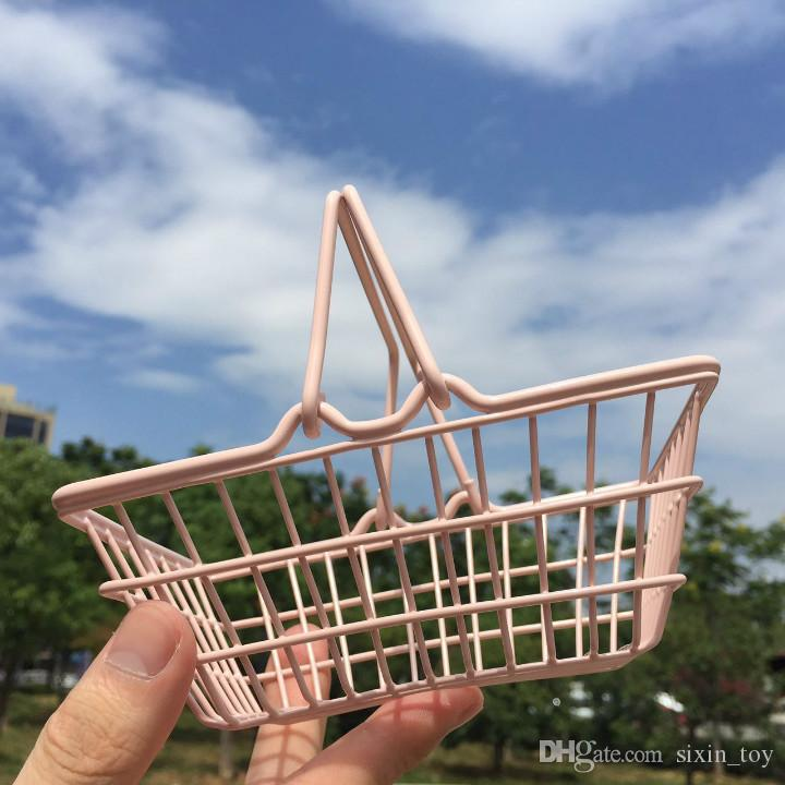 New Arrival Mini Cute Supermarket Shopping Cart Kids Toy Desktop Cosmetic Sundries Organizer Pink Iron Storage Basket