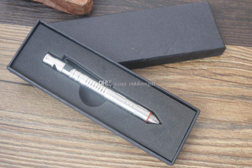 EDC Mini Self Defense Stainless Steel Tactical Pen Outdoor Camping Survival P-61 w/ Whistle, Glass breaker