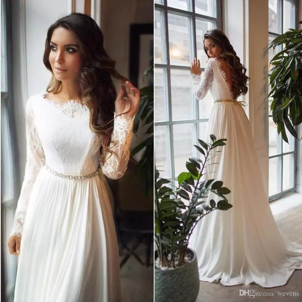 Элегантные богемные шифоновые свадебные платья с коротким рукавом с длинным рукавом Кружева пляжные свадебные платья Страна свадебная одежда Vestido De Novia