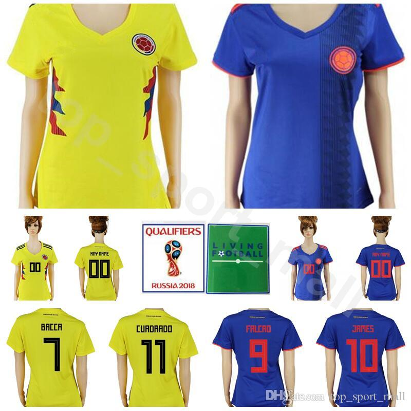 Women Colombia Jersey 2018 World Cup Soccer 11 CUADRADO 7 BACCCA 8 AGUILAR Football  Shirt Kits Lady 10 JAMES 9 FALCAO National Team Yellow UK 2019 From ... 050471cf7
