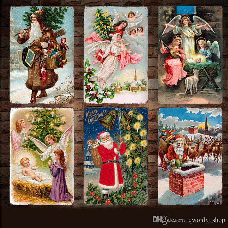 Satın Al Vintage Noel Metal Işaretleri Noel Baba Melek Retro Boyama