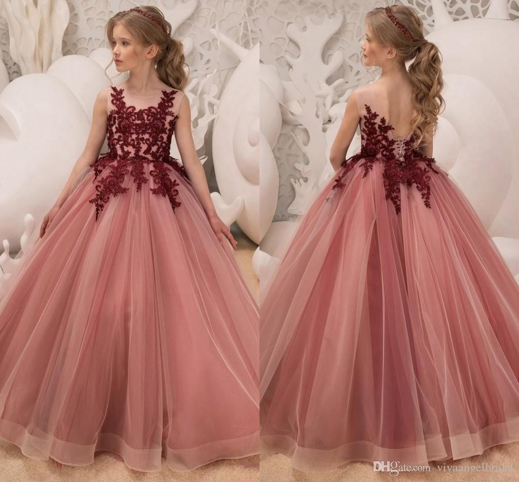02e69d575 Princess Cute 2019 Flower Girls Dresses Jewel Neck Burgundy Lace ...
