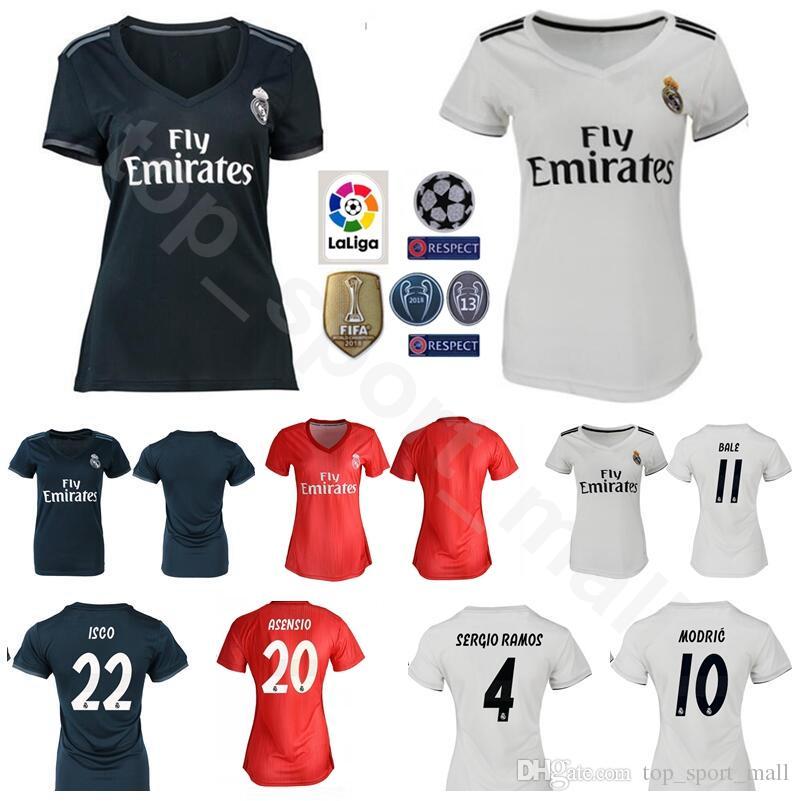 huge discount cdae7 4f269 Women MODRIC Jersey 2018 2019 Real Madrid Soccer Lady Champions SERGIO  RAMOS BALE ASENSIO ISCO NAVAS Football Shirt Kits Uniform Woman