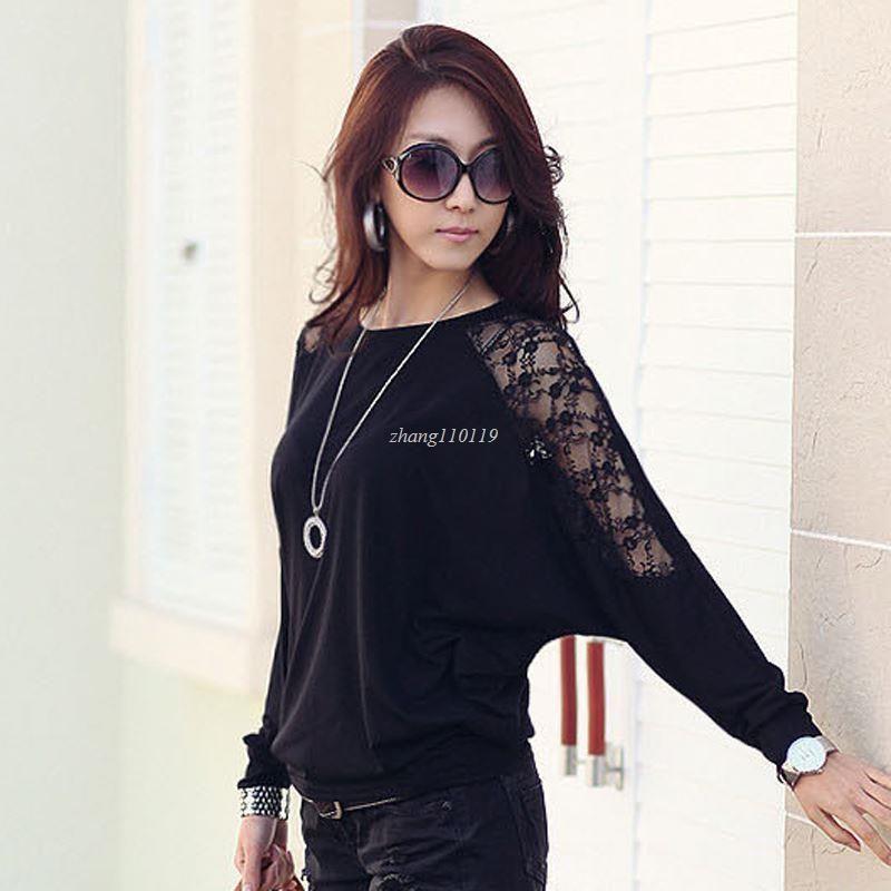 fa8f7cbb8200f Compre Batwing Sleeve Shirt Ropa De Mujer 2018 Casual Lace Blusa Tops  Blancos Loose Cotton Plus Size Korean Clothing Blusas Femininas A  13.36  Del ...