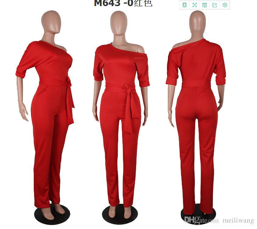 Jumpsuit oblicuo del hombro al por mayor de la manera Casual Set es wholeslae precio Mujer sudaderas top women clothing