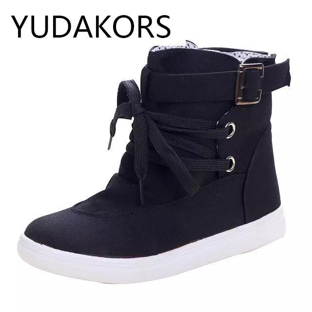 f8f9a0a1 Compre YUDAKORS Zapatos Altos Mujer 2017 Moda Zapatos De Lona Sólidos Con  Cordones Feminino Mujeres Grandes Negro / Gris Deportes YD72 A $24.1 Del ...