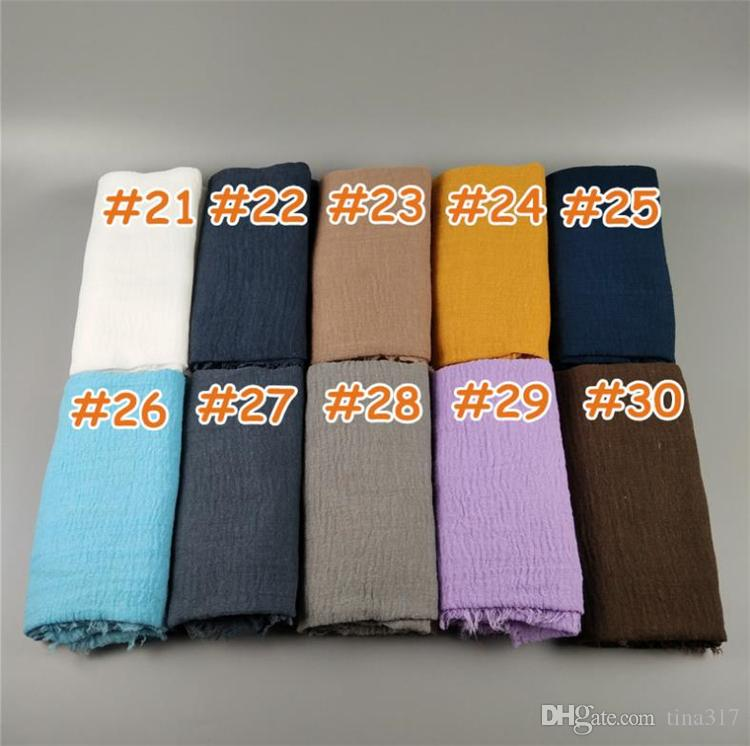 Donne Maxi scialli Oversize Head Wraps islamico Morbido lungo musulmano sfilacciato Crepe Premium cotone pianura Hijab Sciarpe 30 pezzi sciarpe C0152