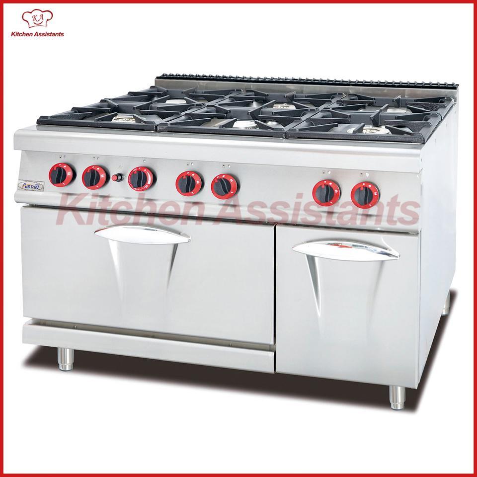 Gamma di gas GH997A con 6 fuochi con forno per piano cottura