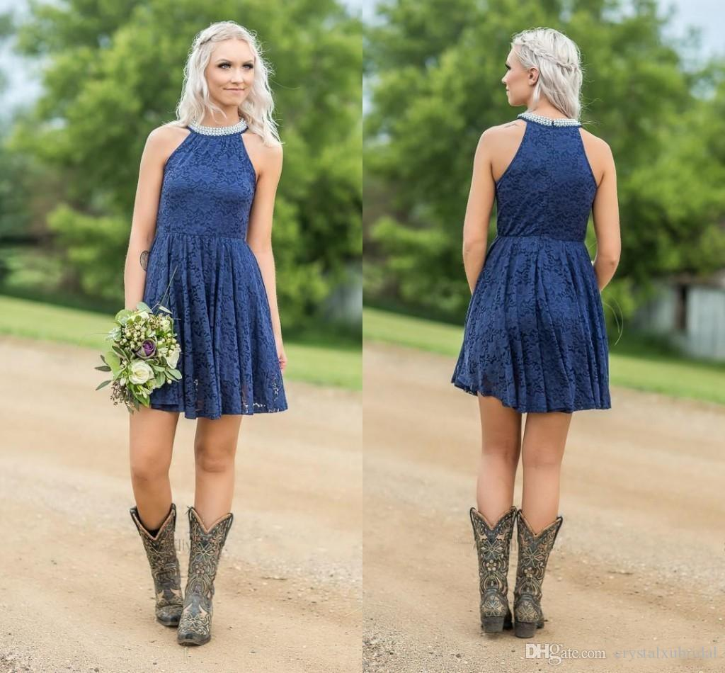553fba78f73 Navy Blue Country Full Lace Bridesmaid Dresses 2018 A Line Pearls Jewel  Neck Zipper Back Western Short Mini Custom Maid Of Honor Gowns Party Dresses  Plus ...