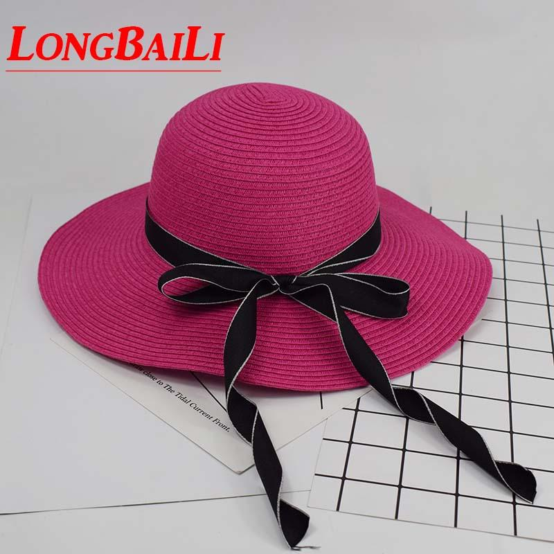 Summer Wide Brim Straw Sun Beach Hat For Women Foldable Bow Floppy Hats  Female SDDS104 Hats In The Belfry Knit Hats From Wutiamou 75614021c21b
