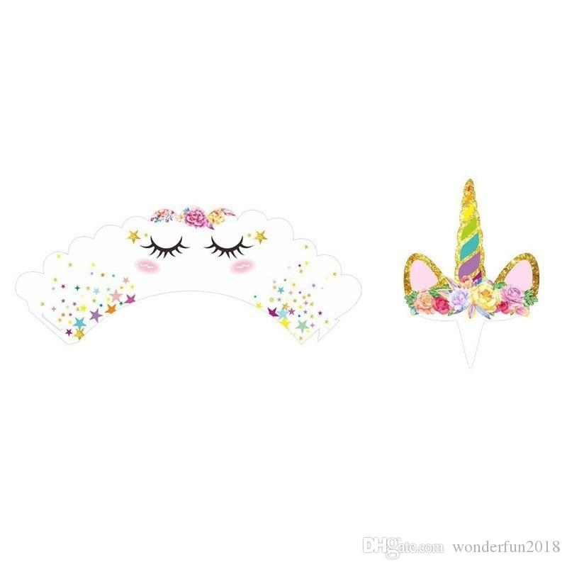Cute Birthday Decoration Unicorn Cupcake Wrappers +Cake Topper Party decoration for Baby Shower Party Cake Decor