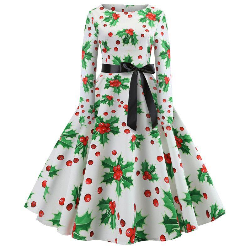2019 Women Vintage Dress Long Sleeve Winter Elegant Party Bodycon Dress  Autumn Print Christmas Dresses Casual A Line Midi Plus Size From Songzhi,  ... - 2019 Women Vintage Dress Long Sleeve Winter Elegant Party Bodycon