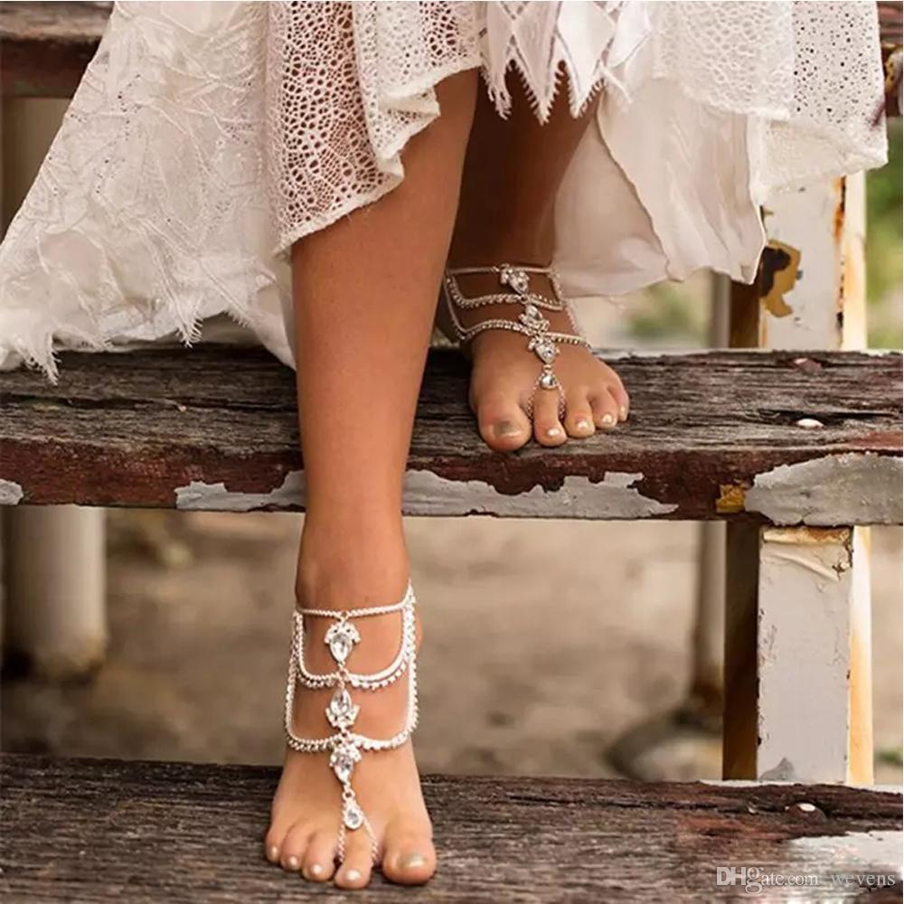 Moda strass sandálias de praia com os pés descalços para casamentos cristais stark tornozeleiras anel de dedo do pé cadeia da dama de honra pé jóias