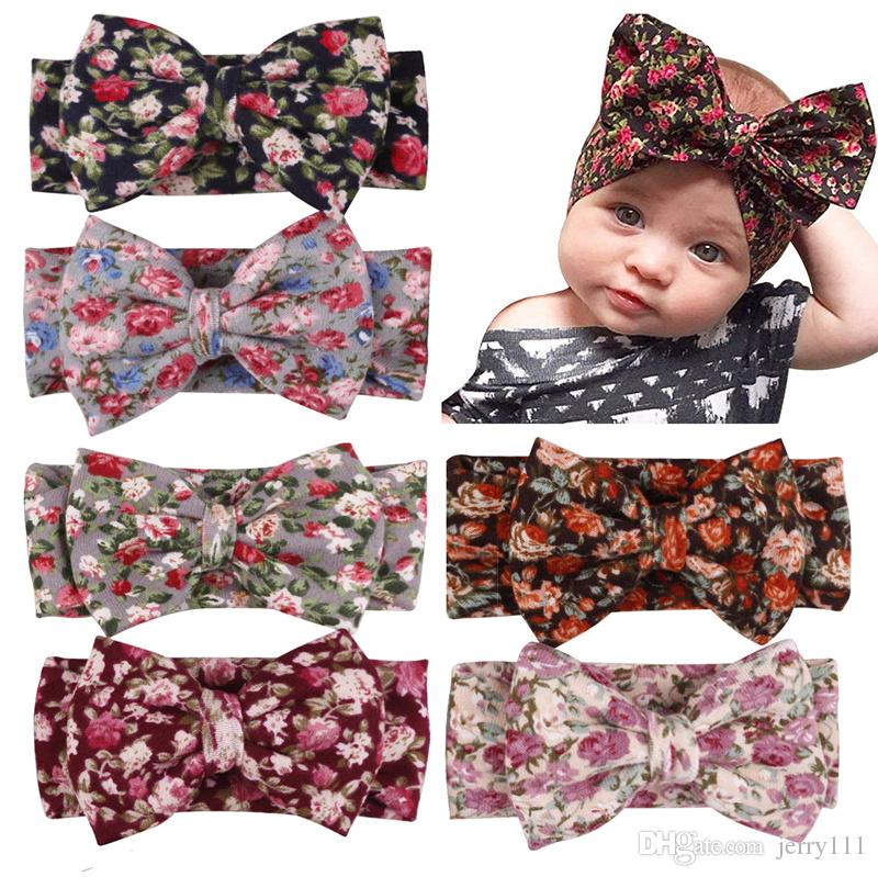 6 Colors Headbands Bow hairs Vintge Hair Head Band Baby girl sweet Elastic knit cotton baby hair accessories cheap LC682-1
