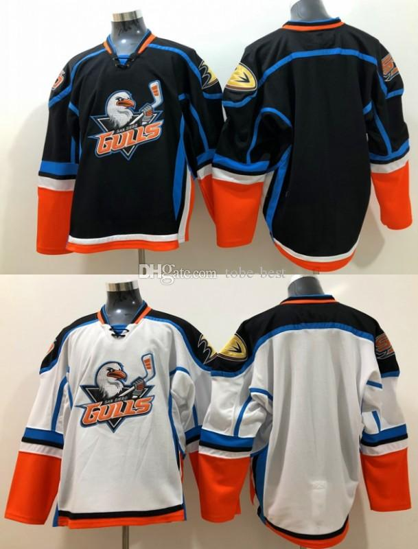 2018 San Diego Gulls Hockey Jersey Mens Home Blue Road Bianco cucita in bianco Hockey Shirt economici New M-XXXL