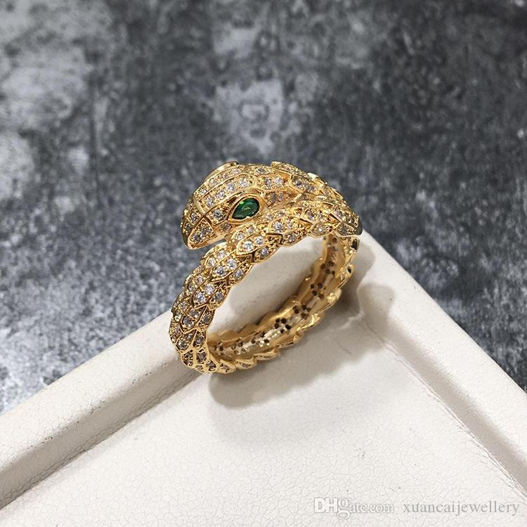 2018 Fashion Snake Rings lady Ring Fashion Design Long Finger Jewelry High Quality Snake Shaped Ring for Women Party