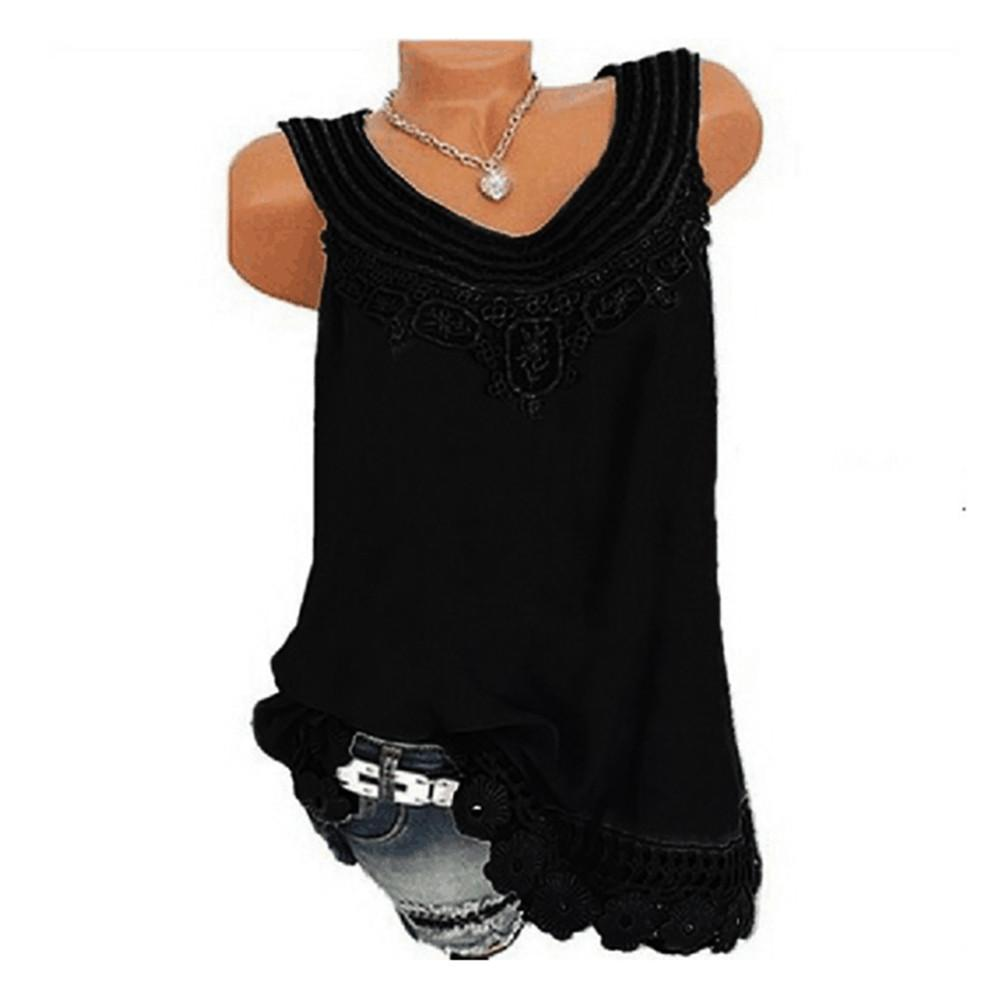 d914a305c20d3 2019 Women O Neck Sleeveless Pure Color Lace Plus Size Vest Tops Loose Shirt  Blouse Women S Clothing Summer Tops For Ladies 2018   From Aqueen
