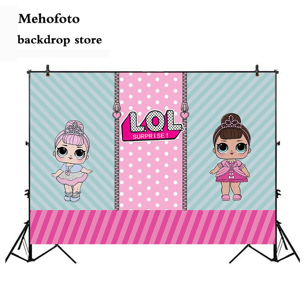 Wholesale lol dolls photography backdrops cartoon girl photo booth background newborn birthday theme party decoration props 934