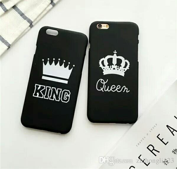 check out 0e939 1f654 King Queen Cellphone Cases For iphone X 7/8 plus Phone Case Matte Hard PC  Back Cover Couple Shell Free DHL 202