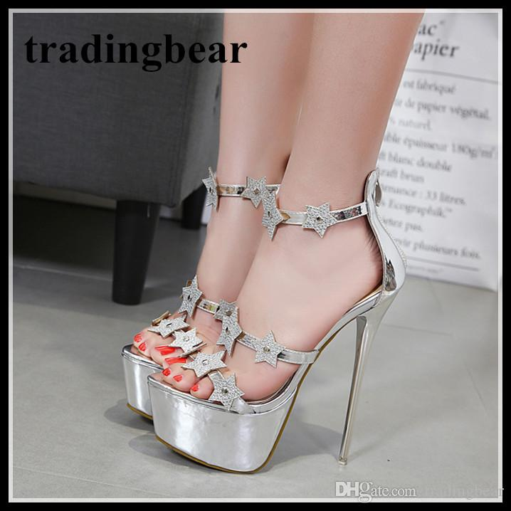 16cm Luxury Silver Star Rhinestone Platform High Heel Shoes Bridal ... ad6729cbae6b