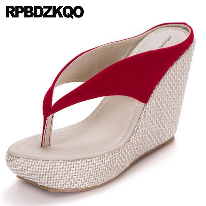 55125189ba66e7 Fashion Women Plus Size Chinese Designer Plain Flip Flop Shoes Ladies  Slipper Big Slides Sandals Orange 2018 Wedge Platform Red Online with   95.61 Pair on ...