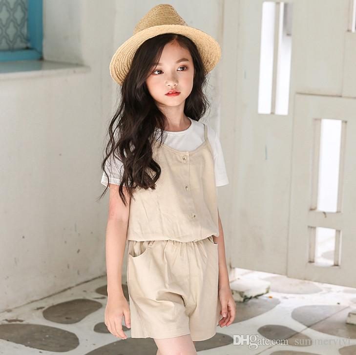 Big Girls Cotton Linen Jumpsuits Summer New Children Double Pocket One Piece Suspender Shorts Kids Cotton Overall Fit 4 16t Y4323