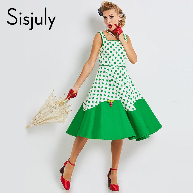 a03835acd938 2019 Sisjuly 2018 Women Vintage Dresses Pin Up Patchwork Buttons 1950s Retro  Strap Dress A Line Cute Female Green Polka Dot Dress From Pattern68