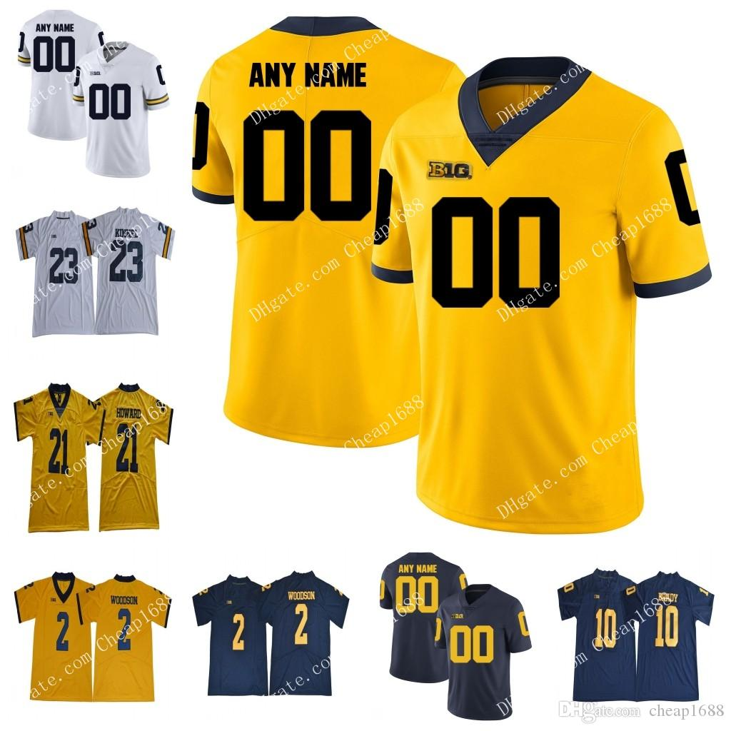 d193549cc7be6a 2019 Custom Michigan Wolverines College Football Gold White Navy Blue  Yellow Personalized Stitched Any Name Number Tom Brady Jersey From  Cheap1688
