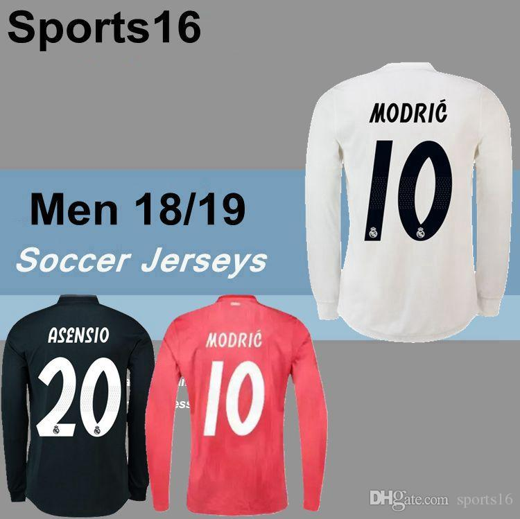 a1acd9de507 2019 Real Madrid ASENSIO MODRIC Long Sleeve Home Soccer Jersey 18 19 ...