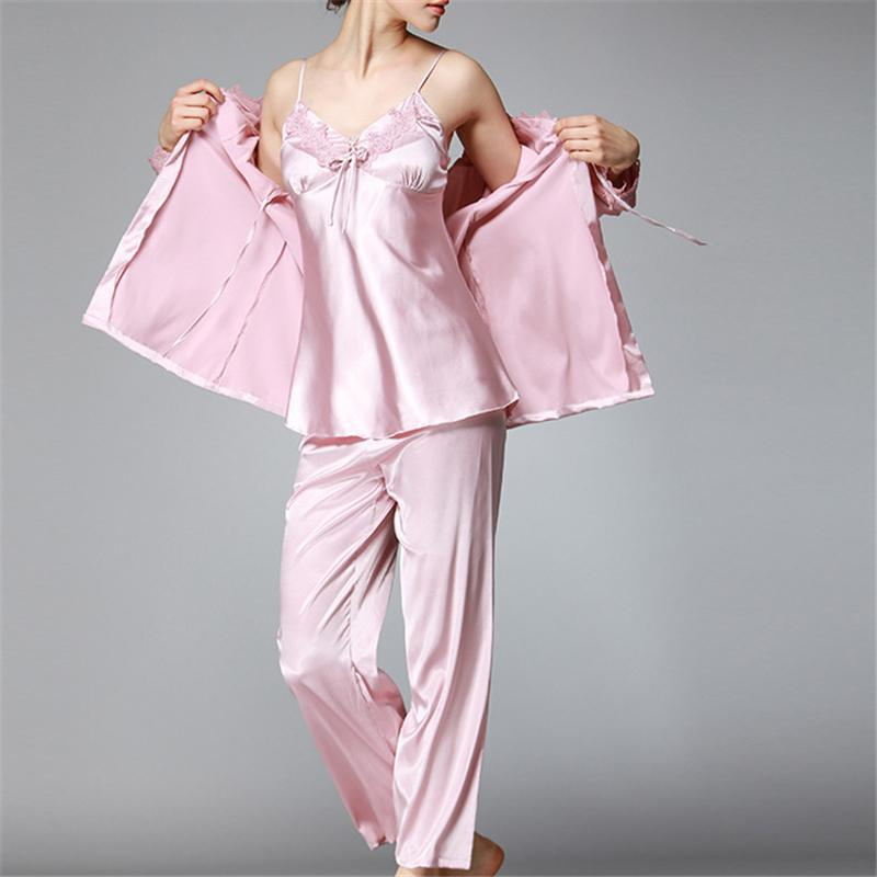 e33d5a1d713 Women s Sleep Lounge Pajamas suit 2017 New Autumn Winter Elegant Womens  Silk Satin 3 Piece Sleep Suit Pajama Sets Full Sleepwear Female