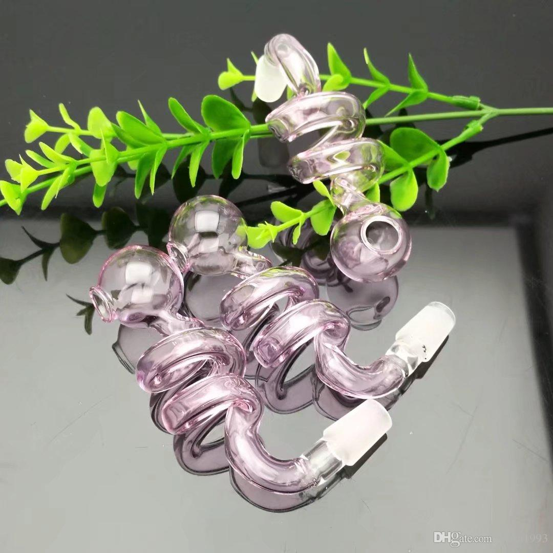 Accessoires de narguilé en verre - Accessoires pour bong [pot en spirale transparent, livraison aléatoire des couleurs, livraison gratuite, grande meilleure