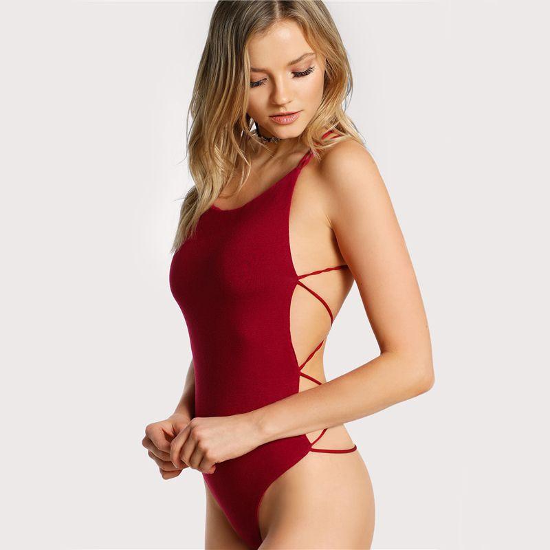 Strappy Backless Body Donna senza maniche Summer Beach Bikini Hot Body Scoop Neck Cross Slim Cami Body Tuta da bagno
