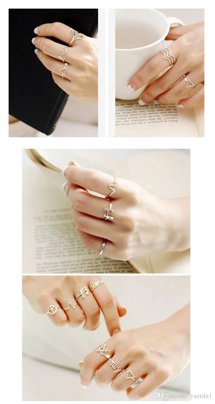 925 sterling silver Korea peace heartbeat triangle pentagram note LOVE AMEN joint ring ring ring gold chain necklace jewelry silicone bracel