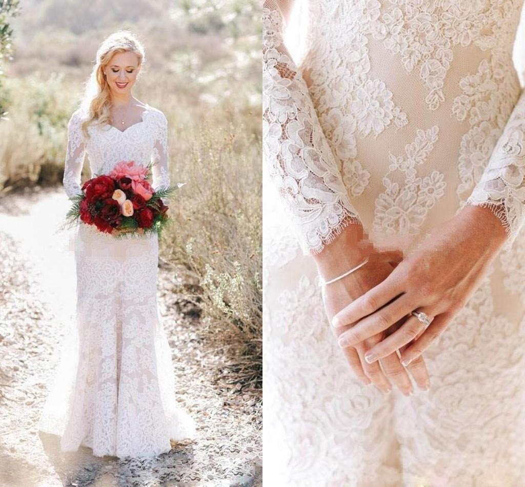 22110132a4c1 2018 Romantic Lace Sheath Wedding Dress Modest Unique Long Sleeves Country  Garden Bride Bridal Gown Custom Made Plus Size Pink Wedding Dress Princess  ...
