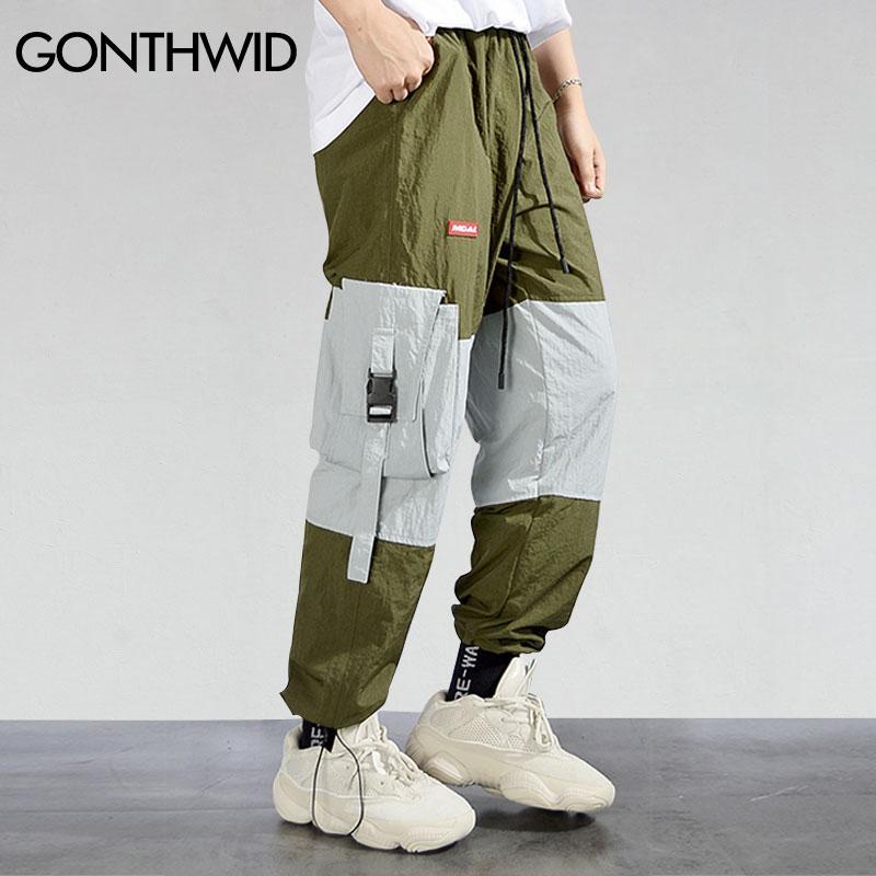 24ffaf7046e816 GONTHWID Side Pockets Boucle Cargo Pants Streetwear Mode Hip Hop Casual  Color Block Patchwork Lâche Baggy Pantalon Pantalon Homme