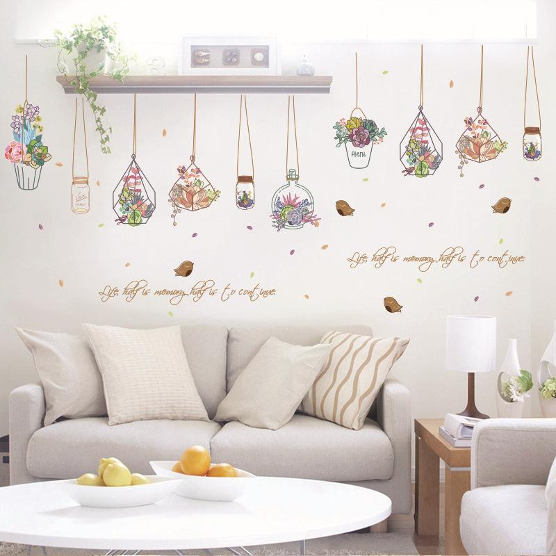 Cactus Bonsai Poed Flower Plants Wall Stickers Decorative Sticker
