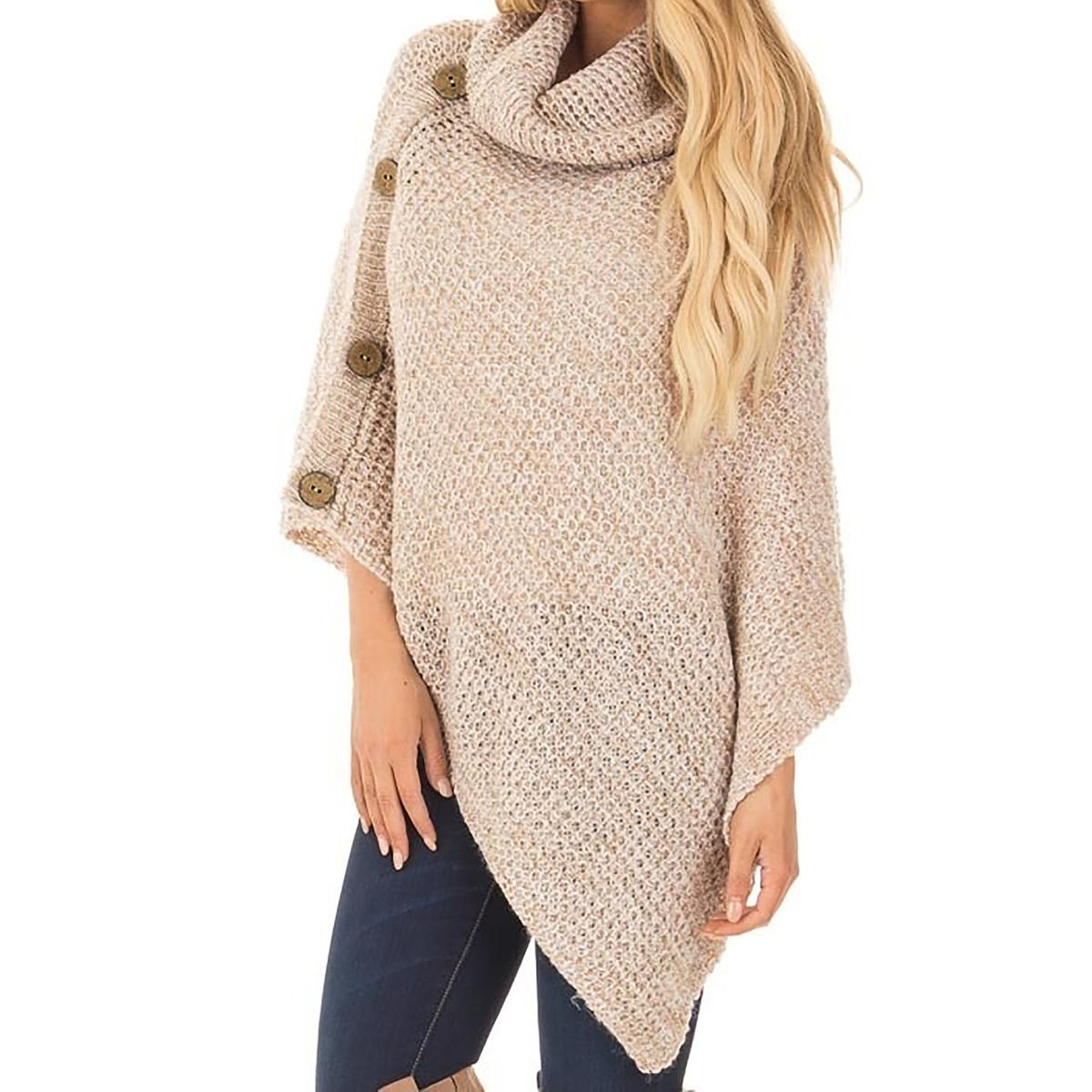 5405219bfe Women Knit Sweaters Autumn Winter Knitwear Turtleneck Batwing Sleeve  Buttons Fashion Pullovers Casual Top Knitted Jumper M0179 Online with   48.17 Piece on ...