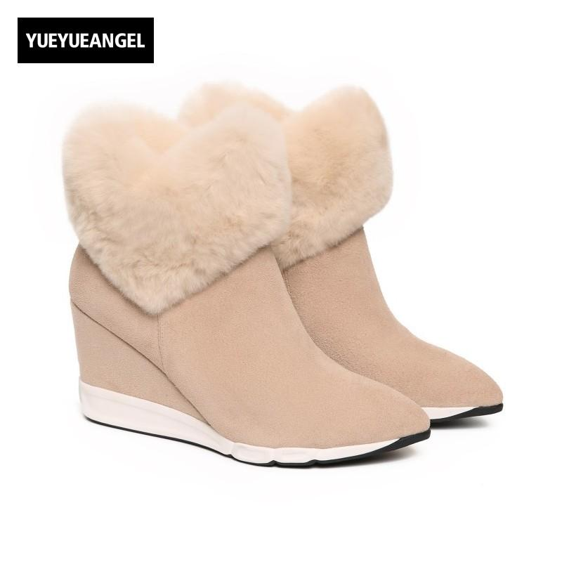 ed1e9d2c36f Winter New Real Leather Cow Suede Womens Snow Boots Sweet Fur Trim Girls Ankle  Boots High Heel Pointed Toe Wedges Female Shoes