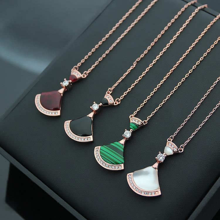 Fashion 316L titanium steel natural black agate B letter four color 18K rose gold white shell fan crystal lady pendant necklace