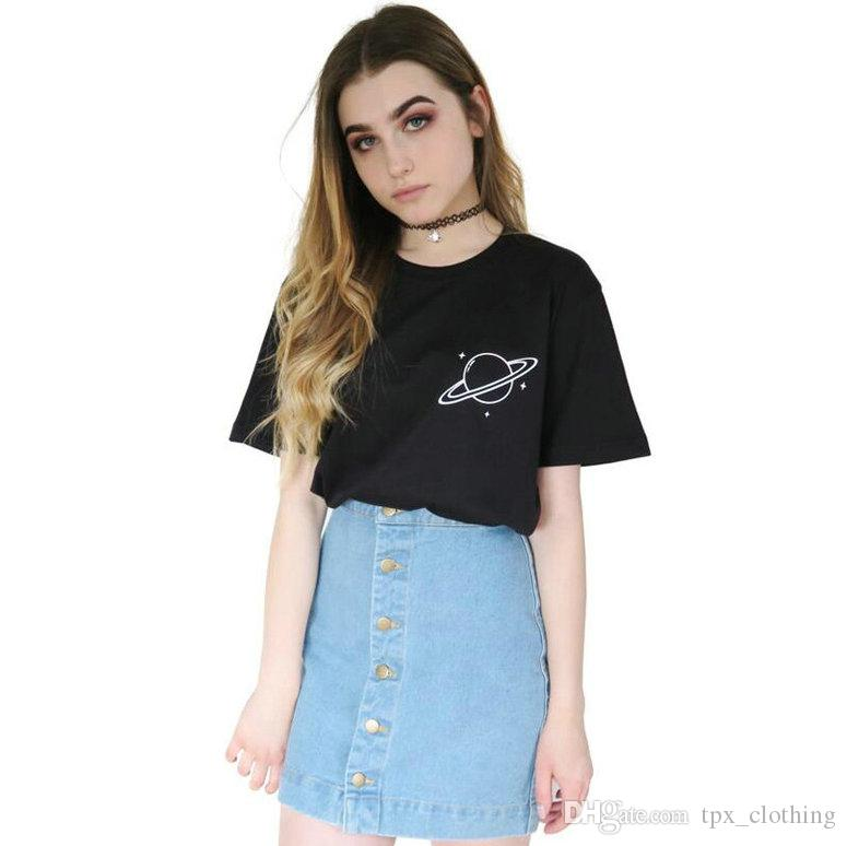 Saturn planet t shirt Cool words outer space short sleeve gown Street  leisure tees Unisex clothing Pure color cotton Tshirt
