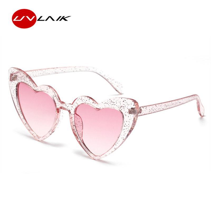 f71df83234 Compre UVLAIK Love Heart Sunglasses Women Lolita Cute Sexy Retro En Forma  De Corazón Gafas De Sol Gafas Vintage Flash Pink Eyewear Mujer A $19.48 Del  ...