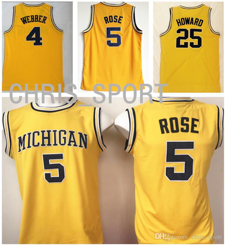 newest 7bb23 e49c0 Michigan College basketball Jerseys Wolverines #4 Chris Webber 5 Jalen Rose  25 Juwan Howard yellow player custom game uniform