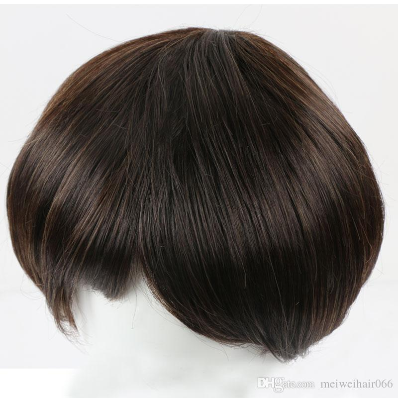 Short Straight Hair Synthetic Wigs For Women Men Natural Looking Heat Resistant Wig and Cap Fashion Full Wig for Daily Life